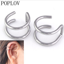 POPLOV Charm no pierced no Ear hole ear clip  Fashion silver gold black metal Clip-on Earrings free shipping