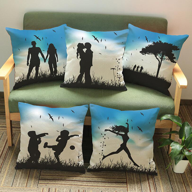 Hot 1PC 45*45cm Charming Modern Simple Lover Girl Shadow Dancing Printed Pattern Waist Throw Pillow Case 2016 shadow