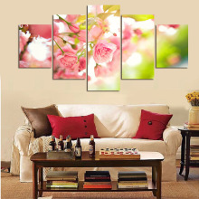 Unframed Hot Sell 5 Panel Large Flower Picture Modern Home Wall Decor Canvas Print Art Painting For Sitting Room