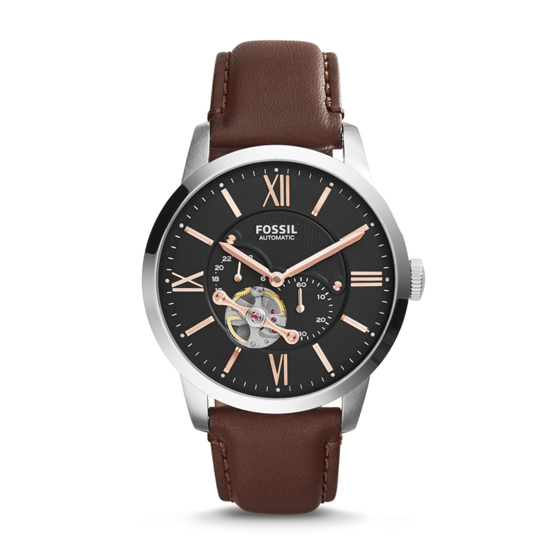 FOSSIL Men's Townsman Mechanical Stainless Steel Watch with Brown Leather Strap ME3061