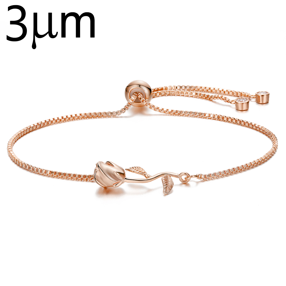 3UM Rose Beauty and Beast Final Rose Flower Charm Slide Dainty Adjustable Flower Bracelet for Women Wedding Bridal Jewelry