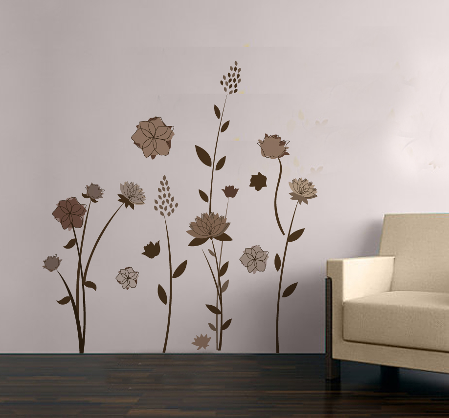 Free Shipping Brown Flowers Living Room Decor Removable Wall Sticker Home 8192 In Stickers From Garden On Aliexpress