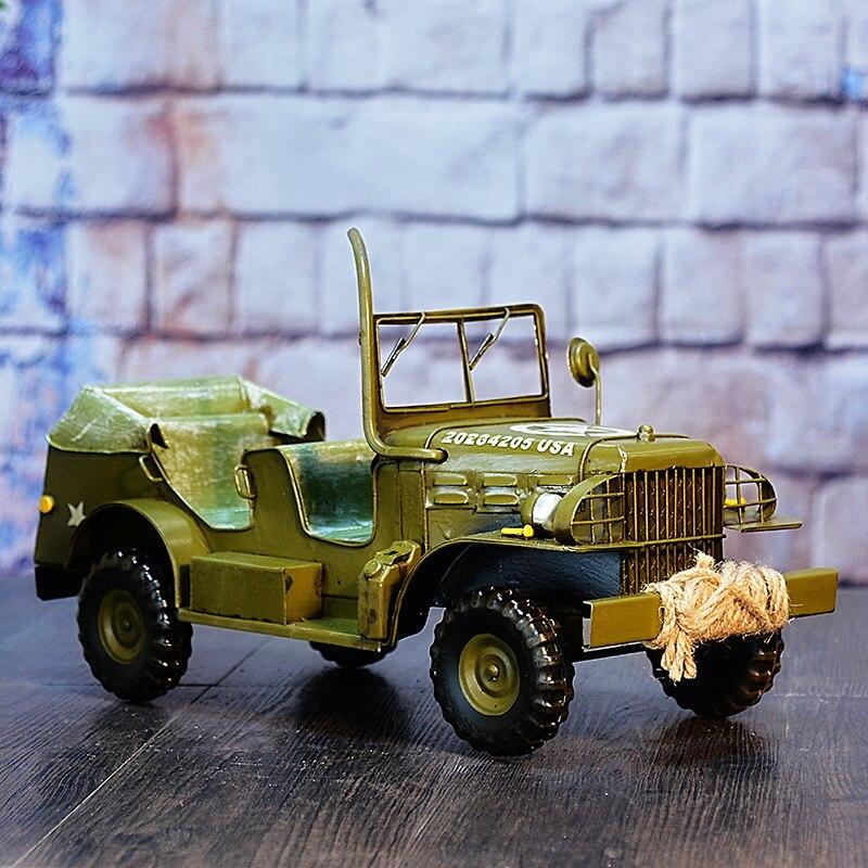 Vintage américain lumière Jeep artisanat étain armée modèle décorations militaire Collection Souvenirs
