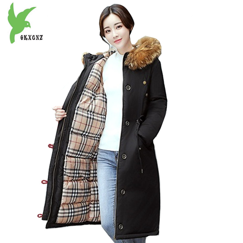 New Women Winter Cotton Jackets Long Coats Hooded Fur collar Parkas Thick Warm Jacket Plus size Female Slim Outerwear OKXGNZ1072 2017 new fashion women long cotton coats size s 2xl hooded collar warm parkas winter black navy green color woman parkas qh0449