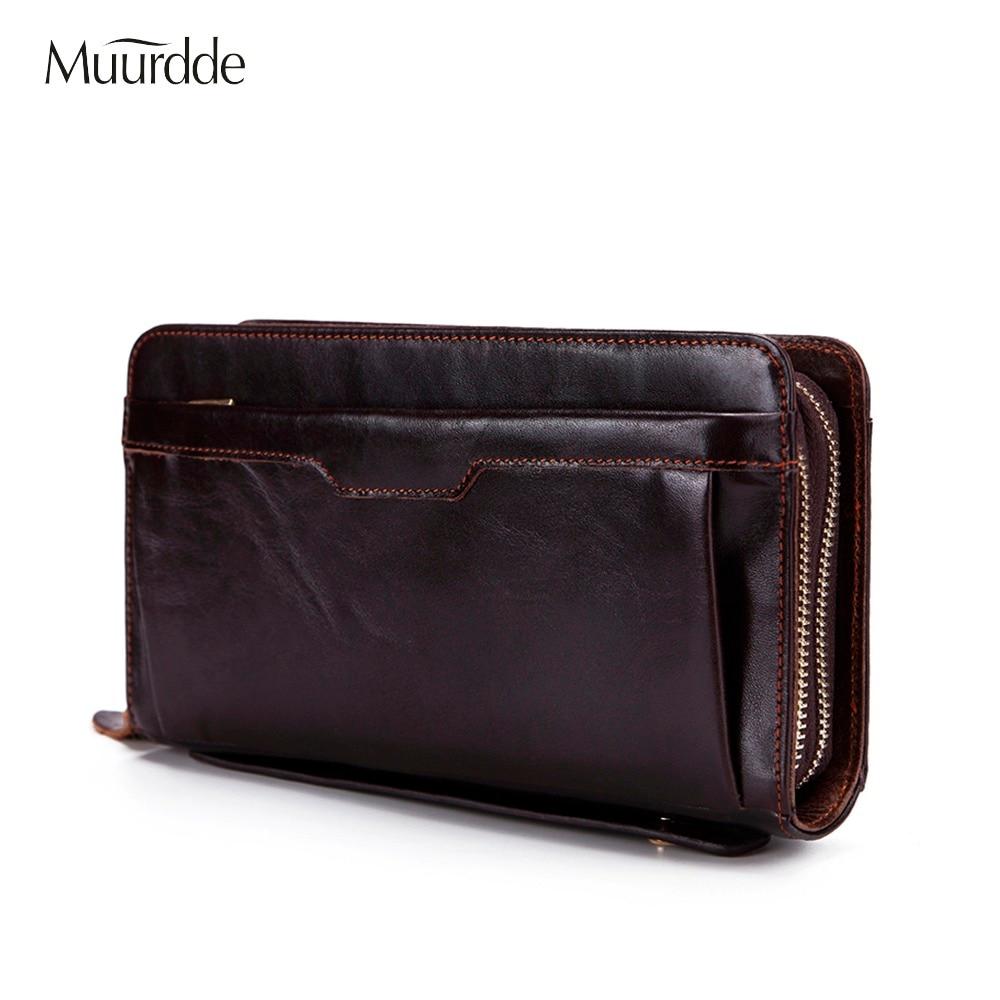 Muurdde Wallet Male Genuine Leather Wallets For Credit Card Phone Money Wallet Long Coin Purse Men