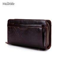 Muurdde Wallet Male Genuine Leather Wallets For Credit Card Phone Money Wallet Long Coin Purse Men Clutch Bag Wristlet Carteira