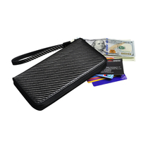 Newest Fashion Real Carbon Fiber Wallet Men Leather Carteira Luxury Genuine Leather Wallet Women Billetera With Double Zipper