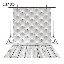 Laeacco Leather Bed Headboard Wood Floor Scene Photography Backgrounds Customized Photographic Backdrops Props For Photo Studio(China)