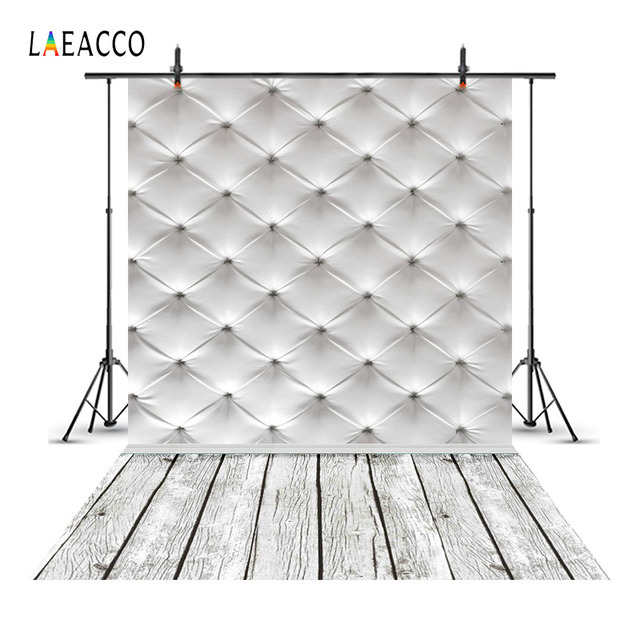 Laeacco Leather Bed Headboard Wood Floor Scene Photography Backgrounds Customized Photographic Backdrops Props For Photo Studio