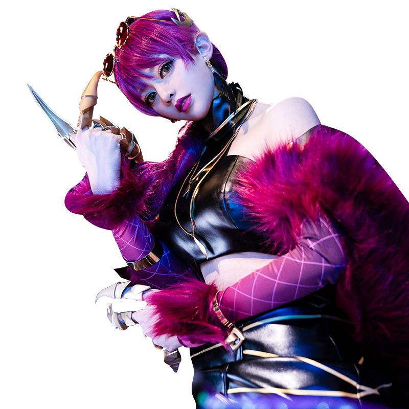 evelynn LOL K/DA kda Evelynn cosplay costume sexy tupe top skirt full set with tails and claws KDA Evelynn Cosplay Costume 2
