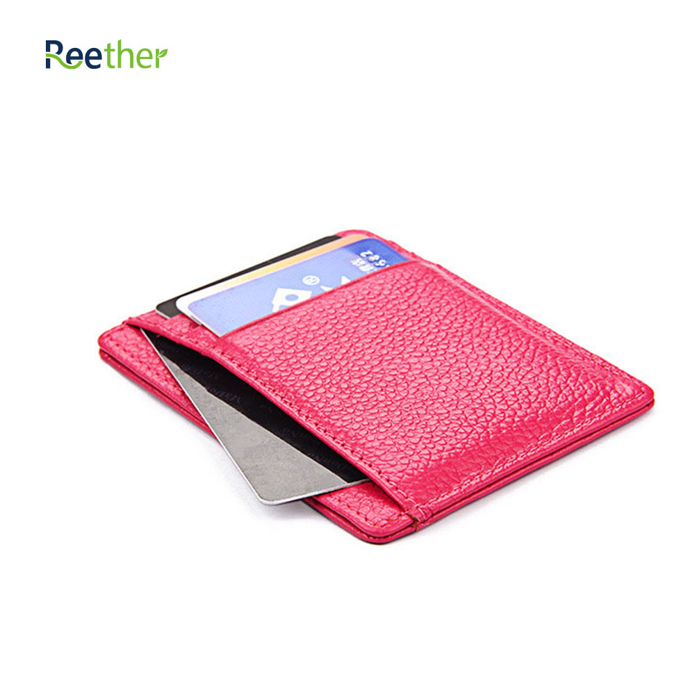 REETHER Leather Card Bags RFID Credit Card Holder Wallet Pickup Package Bank Card Women Purse Cards Case Customized Gifts