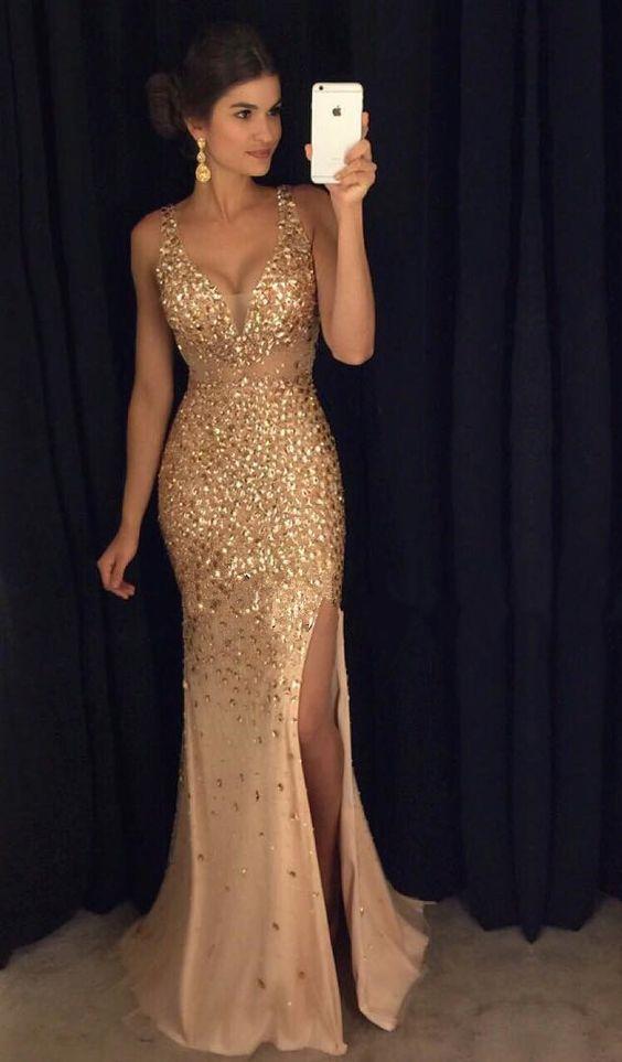 Vestidos de graduacion largos color oro