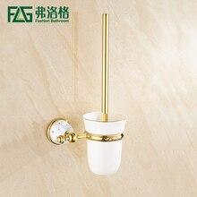Free envío libre de bronce y cristal escobillero, oro plateado titulares de cepillo de baño cepillo de baño productos de baño de cristal de metal
