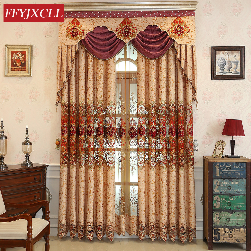 Chenille Cloth Luxury Europe Embroidered Tulle Window Curtains For Living Room Bedroom Valance Curtains Window Treatment Drapes