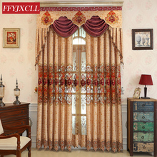 Chenille Cloth Luxury Europe Embroidered Tulle Window Curtains For living Room Bedroom Valance Treatment Drapes