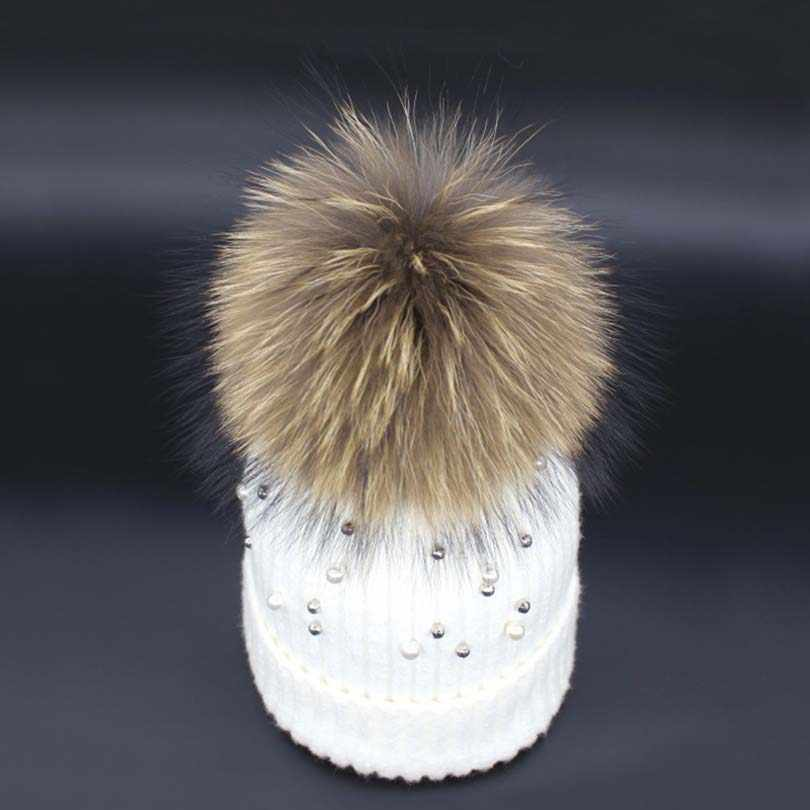 aa71a9a3248 Beads Mink Fur Pom Poms Knitted Hat Ball Beanies Winter Hat For Women Girl   S
