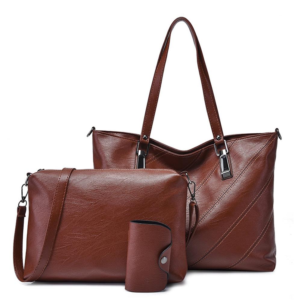 3 pièces femmes sac sacs à main ensembles marque grande capacité sac fourre-tout de haute qualité PU cuir bandoulière épaule Messenger sacs Bolsos Mujer