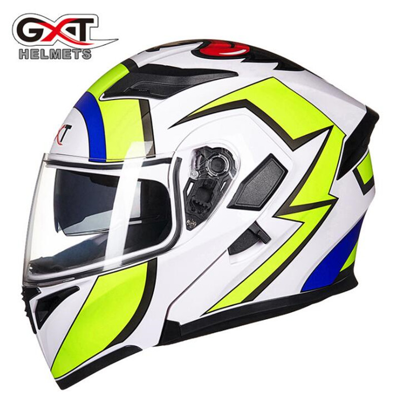 GXT Flip Up Motorcycle Helmet Modular Moto Helmet With Inner Sun Visor Safety Double Lens Racing Full Face Helmets 2017 new knight protection gxt flip up motorcycle helmet g902 undrape face motorbike helmets made of abs and anti fogging lens