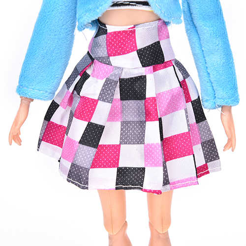 3 Pcs/Set For Barbie Toys Dolls Clothing Fur Collar Coat Tank Plaid Skirt Suit