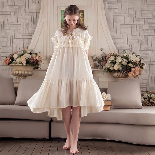 Nightwear Women Vintage Sleepwear Summer Lace Cotton -5623