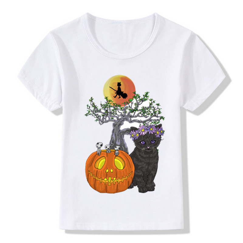 Halloween Cats Pattern Funny Kids T shirt Boys and Girls Summer White Clothes Baby Pumpkin Print Casual T-shirt,HKP2028