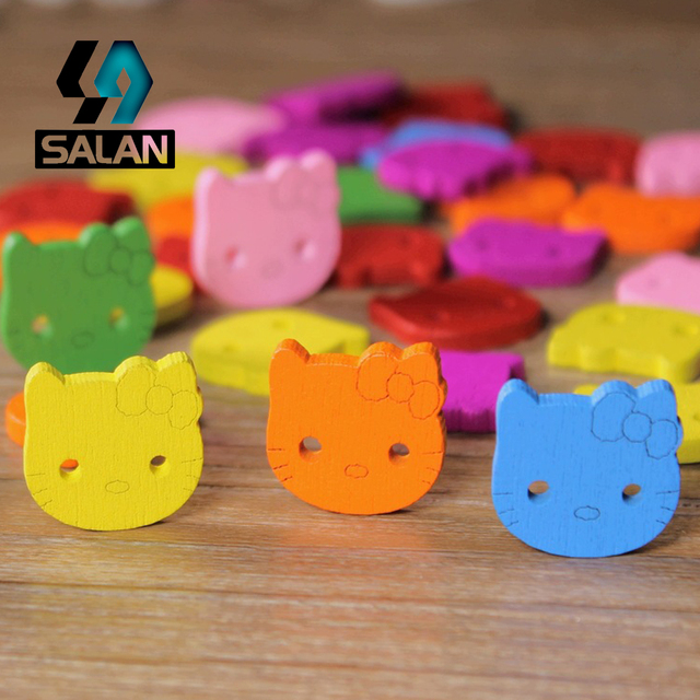 WB-0008 Free shipping wholesale retailed 15pcs lot colorful hello kitty  wooden buttons 8b8822f4cf614