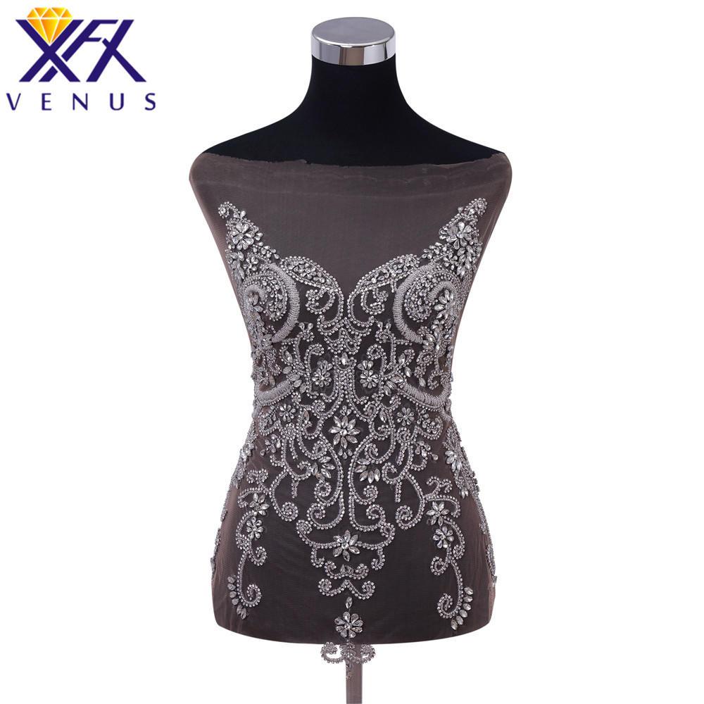 XFX VENUS Handmade Silver Dress Patches Sew On beads Rhinestones Bodice Bridal Applique Trimming for Dress Gown Decorations