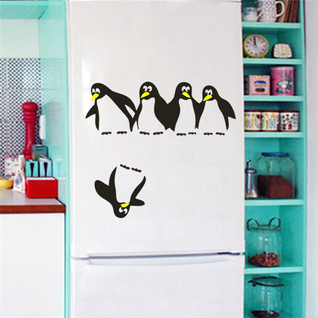 Funny Penguin Family Kitchen Fridge Sticker Wardrobe Kids Room Decals Dining Decorative Wall Stickers Home