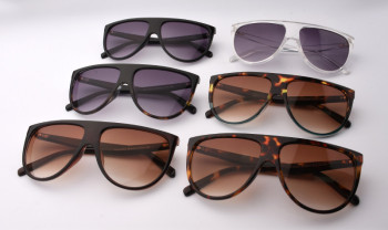 2017 Brand Designer Women Retro Flat Top Sunglasses Vintage Acetate Shaded Lens Thin Shadow Glasses Men Oculos De Sol 744M 5