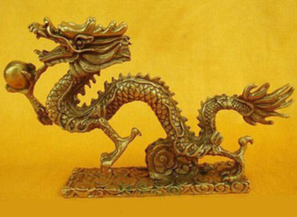 TB S0001 Chinese Bronze Brass Dragon Figurine Statue Long 13cm