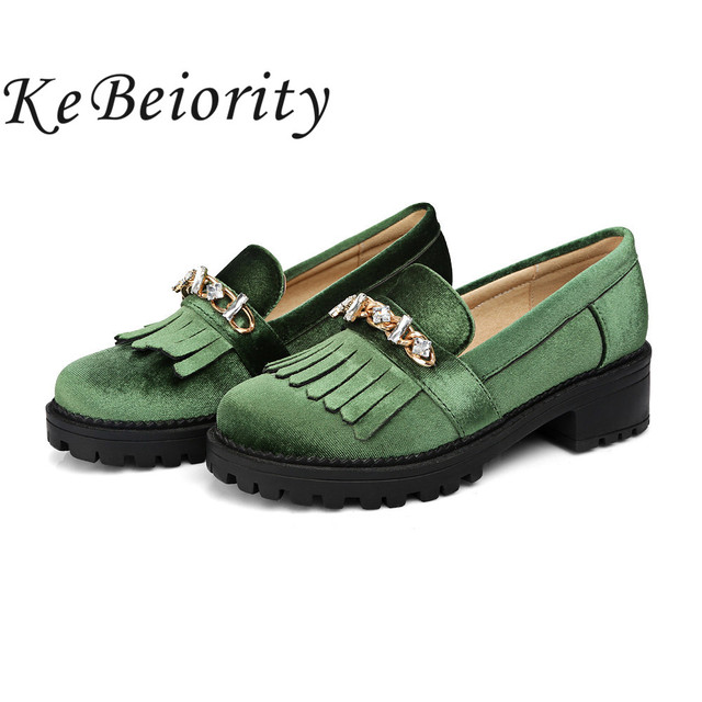 e3b409aa5e2 KEBEIORITY Women Oxford Shoes 2017 Platform Loafers Women Spring Summer  Shoes Casual Green Black Red Flats Girls School Shoes