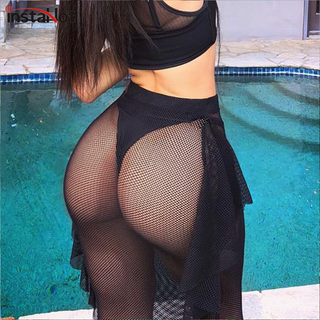 InstaHot Fish Net Pencil Maxi Skirts Sexy Women 2019 Mesh See Trough Ankle Length High Waist  Lace Tassel Long Party Black Skirt
