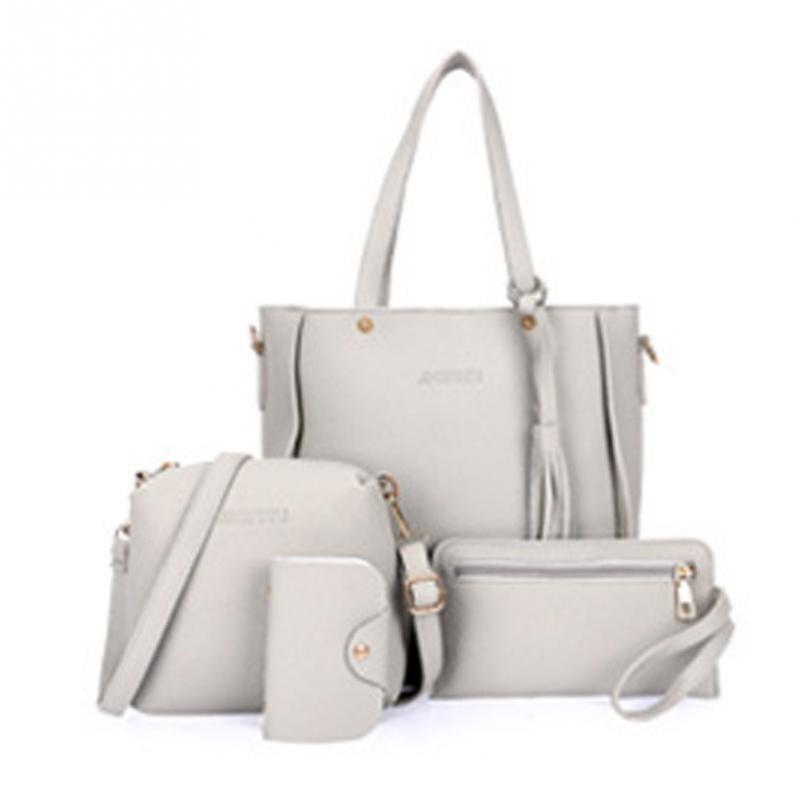 Shoulder Bags 4pcs Fabala Pu Leather Shoulder Bags Purse Practical Handbag Satchel Set Tassel Casual Messenger Bag Woman Bag
