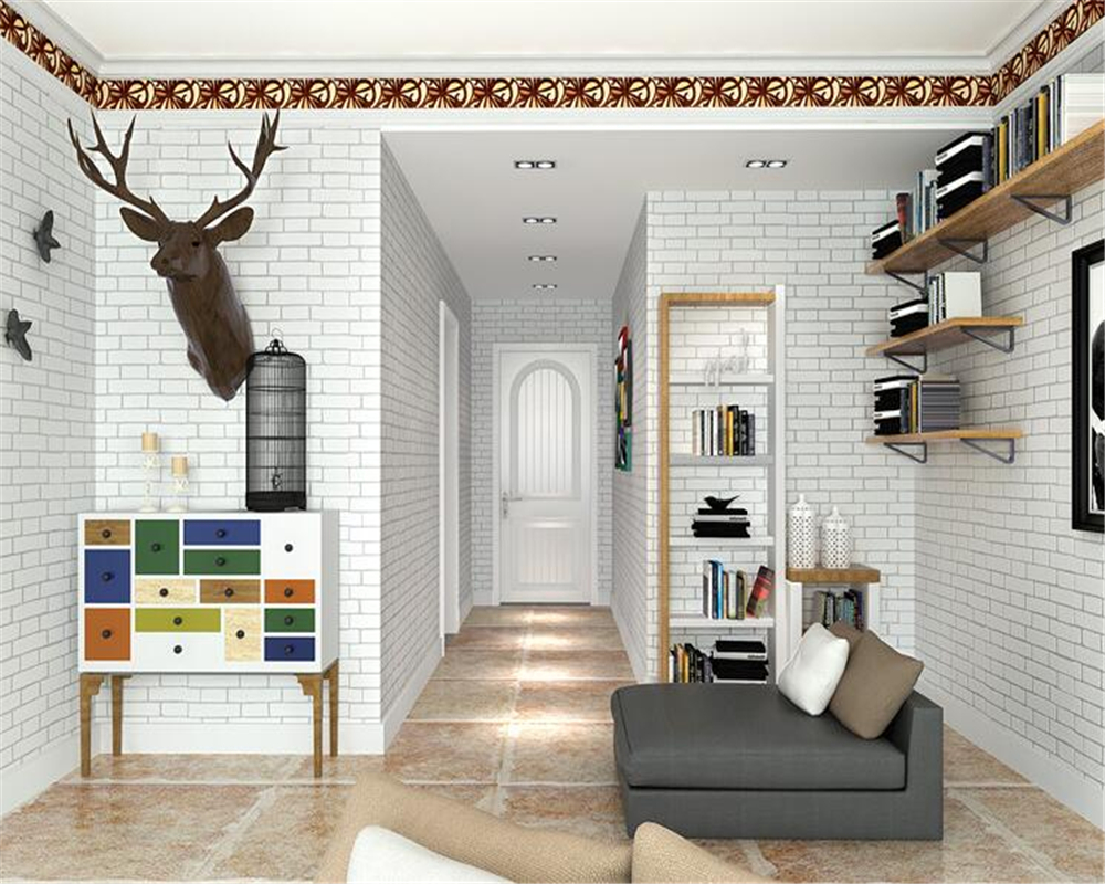 Beibehang Mediterranean 3D Wallpaper White Blue Brick Plain Wallpapers Living Room TV Wallpaper Rolls wallpaper for walls 3 d custom 3d ceiling wallpaper white polygon brick wall wallpaper for walls 3 d ceiling murals wallpapers for living room