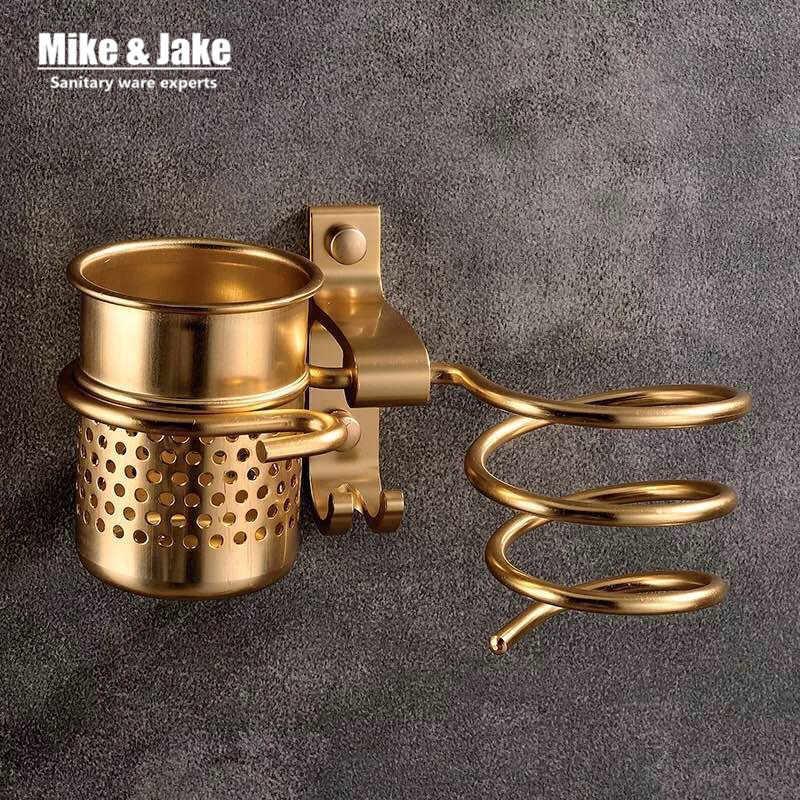 Золотая сушилка haie с чашкой, сушилка для волос, стойка для домашнего хозяйства, фен для волос, алюминиевая полка аксессуары для ванной комнаты MJ595