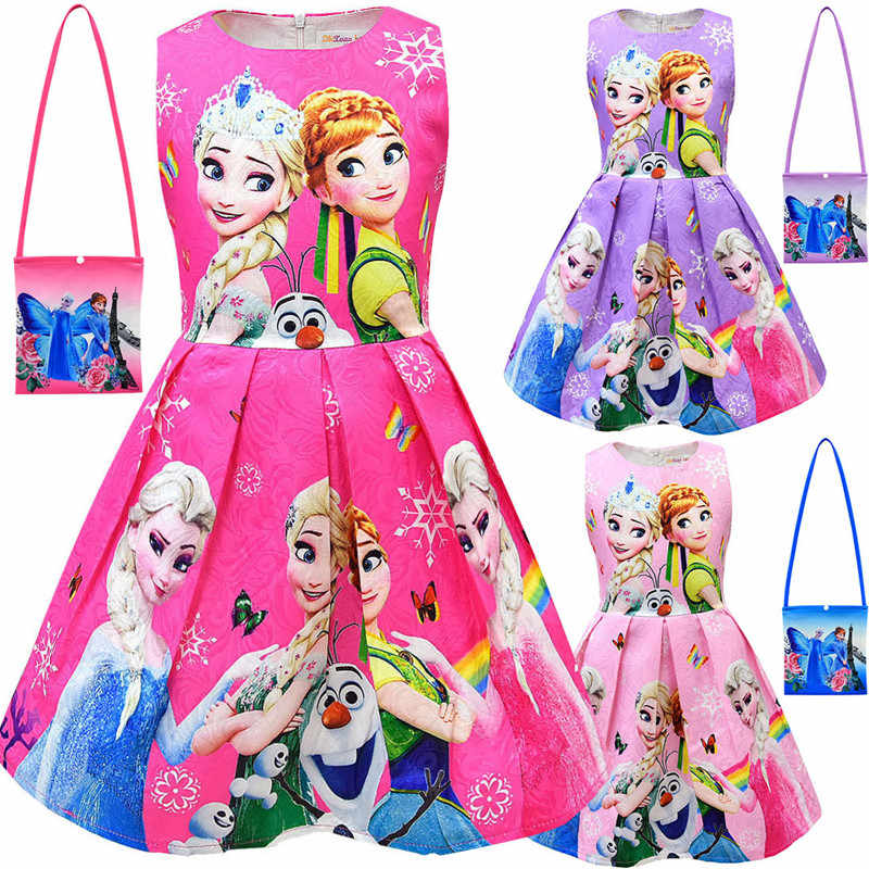 New Girls Dress And Bag Kids Cartoon Cosplay Snow Queen Dresses Princess Elsa Party Dresses Anna Costume Baby Children Clothing