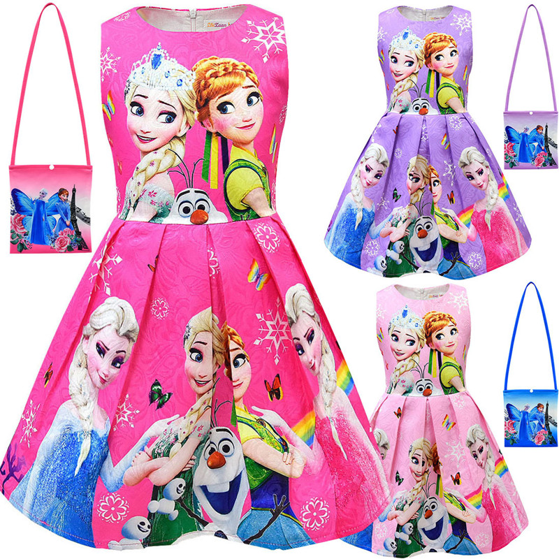 New <font><b>Girls</b></font> <font><b>Dress</b></font> And Bag Kids Cartoon Cosplay Snow Queen <font><b>Dresses</b></font> <font><b>Princess</b></font> Elsa Party <font><b>Dresses</b></font> Anna Costume Baby Children Clothing image