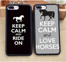 Мягкий ТПУ чехол MaiYaCa Keep Calm and Ride On влюбленные лошади Pony для iPhone 8 6 6S Plus 7 Plus X XR XS MAX 5s SE(China)