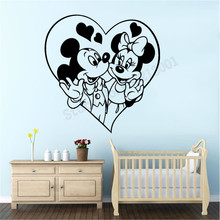 Minnie And Mickey Mouse Beauty Fashion Wall Sticker Kidsroom Babyroom Decor Cartoon Decals Ornament Poster Mural LY1107