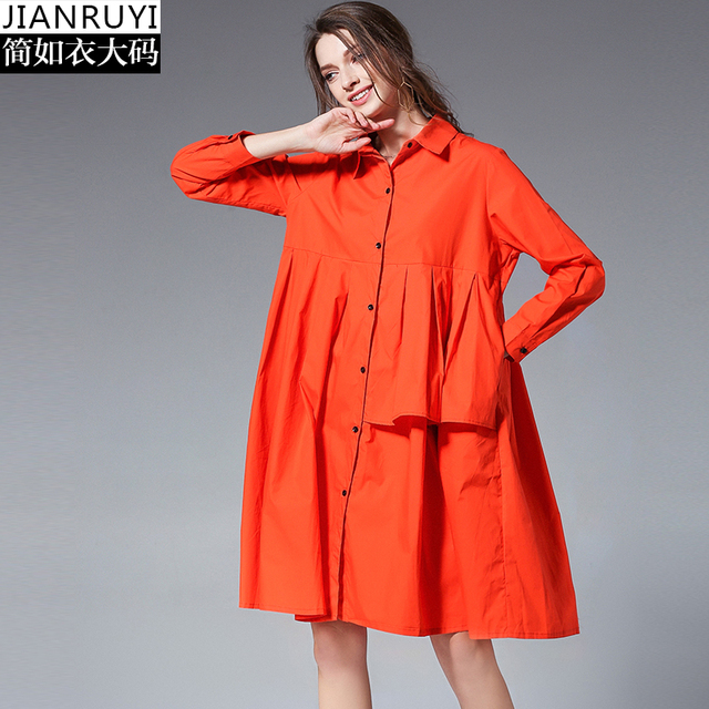 2018 Autumn Plus Size Dresses Coats Elegant Woman Clothes Cotton Maternity  Dress Loose Pregnancy Clothes Pockets Button Pockets-in Dresses from Mother  ...