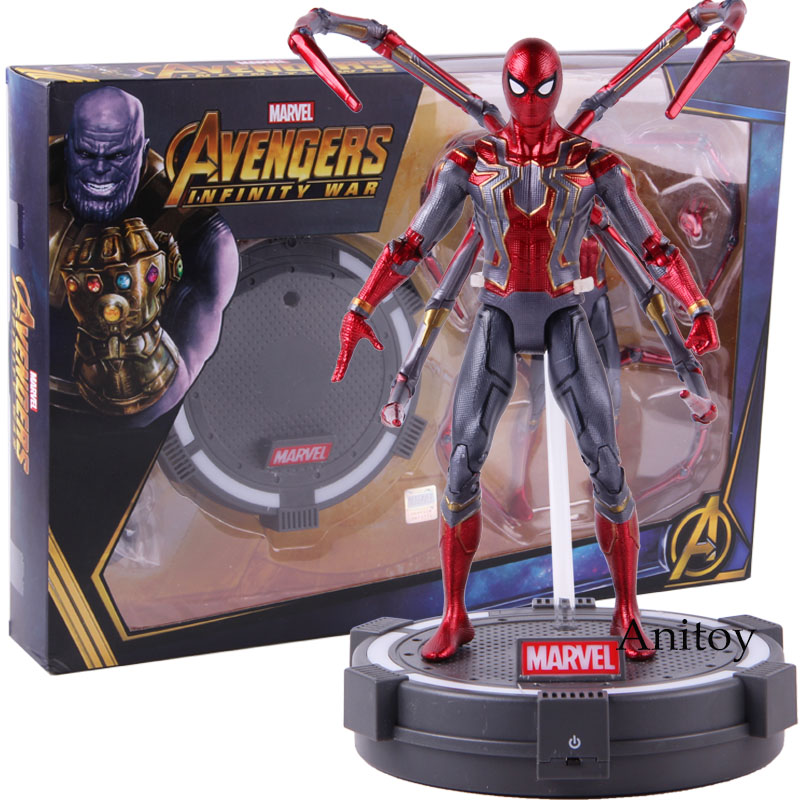 Marvel Avengers Infinity War Iron Spider LED Light PVC Action Figure Model Toy