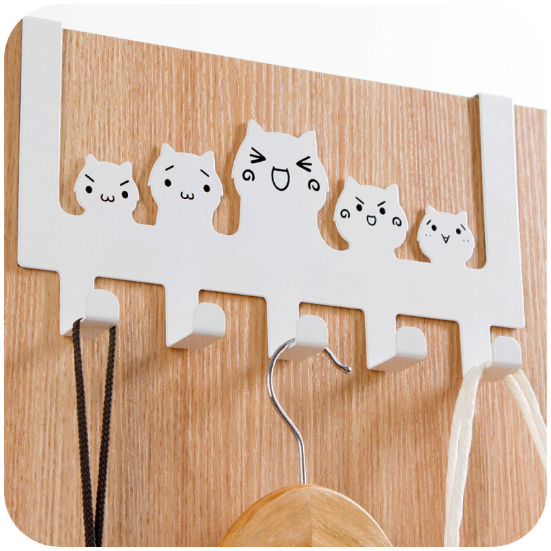 Superb Cute Cat Door Hook Stainless Metal Painted Over Door Hanger 5 Hooks For  Kitchen Bathroom Clothes Towel Hand Bag Sundries Hanging In Hooks U0026 Rails  From Home ...