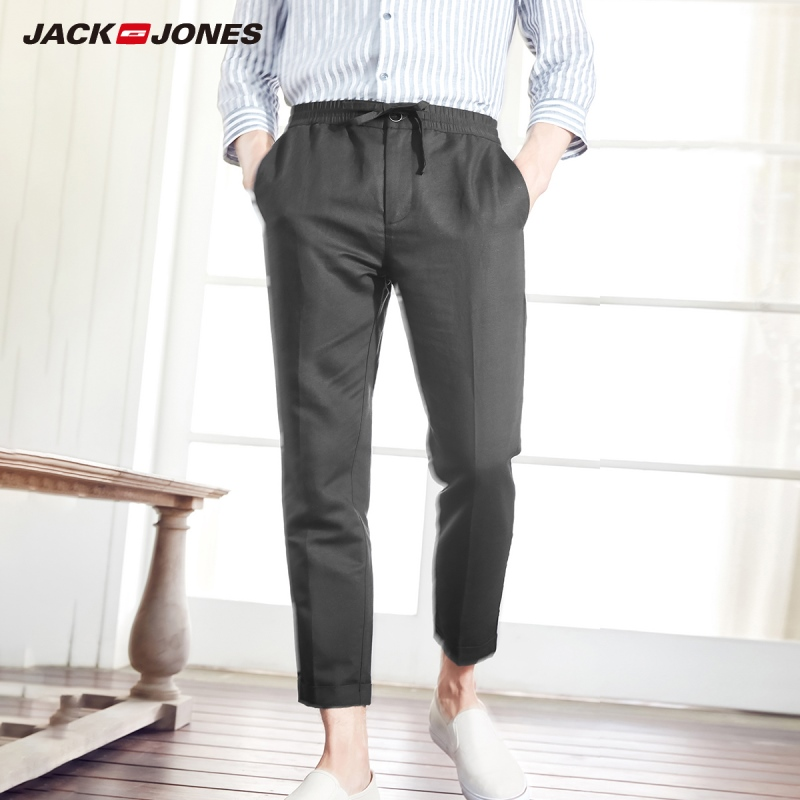 JackJones Men's Slim Fit Linen&Cotton Cropped Pants Casual Ankle-length Trousers Basic Menswear 219114556