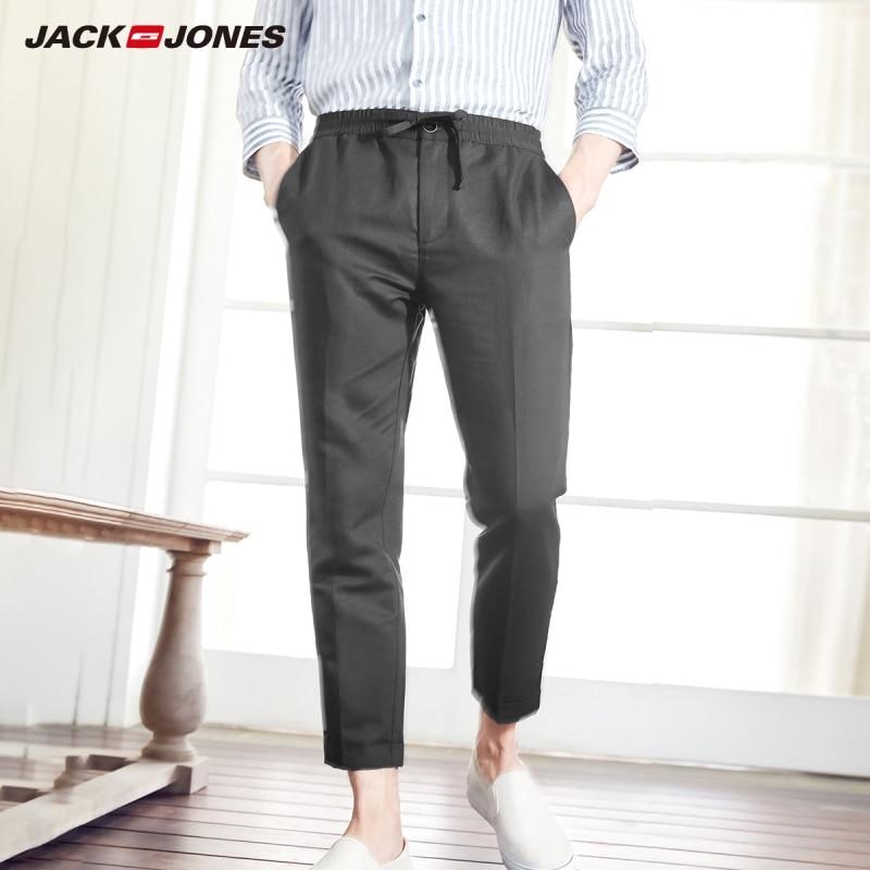 JackJones Men's Slim Fit Linen&Cotton Cropped Pants Casual Ankle-length Trousers Menswear 219114556