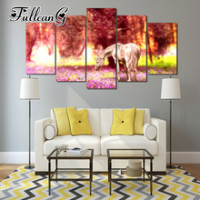 FULLCANG diy 5pcs diamond painting garden unicorn full drill 3d cross stitch mosaic embroidery multi-picture hobby G1174
