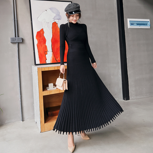 2019 Autumn Winter High Quality Long Knitted Dress Women Black Fashion Stand Collar Slim Thicken Warm Sweater Pleated Dress 80