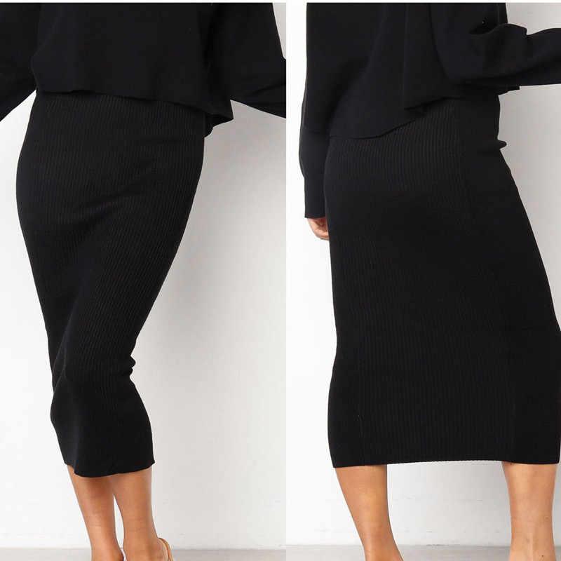 รอบคอยาวแขนยาว 2 ชิ้นชุดผู้หญิง Crop Top Solid ดินสอกระโปรงสุภาพสตรี Elegant OL สไตล์ 2 ชิ้นแยกการซื้อ