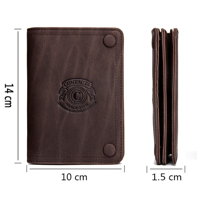 CONTACT'S Men Wallets Brand Design Crazy Horse Genuine Leather Male Short Wallet Hasp Man's Purse With Coin Pockets Card Holders 3