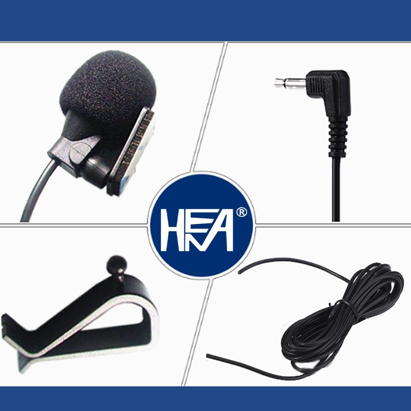 HENA Professional Mini Wired External Car Microphone for Car DVD Player and Car Bluetooth Using 3M Cable with 3.5mm Mono Jack