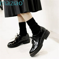 Ladies Shoe Round Toe Lacquer Leather Lace Up Low Heel Sweet Style Single Shoes Luxury Shoes Women MAZIAO